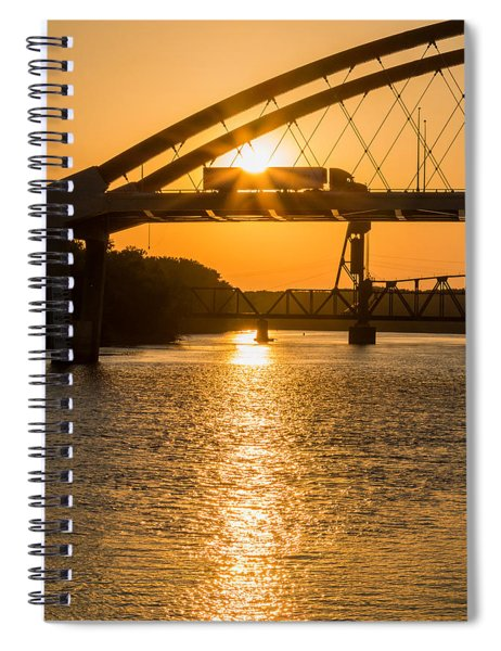 Spiral Notebook featuring the photograph Bridge Sunrise #2 by Patti Deters