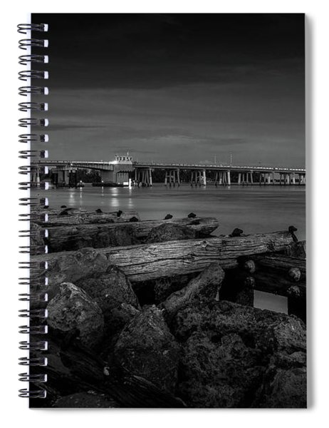 Spiral Notebook featuring the photograph Bridge To Longboat Key In Bw by Doug Camara