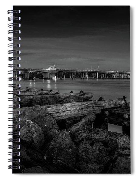 Bridge To Longboat Key In Bw Spiral Notebook