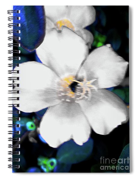 Bright Blue Accents White Vinca Spiral Notebook