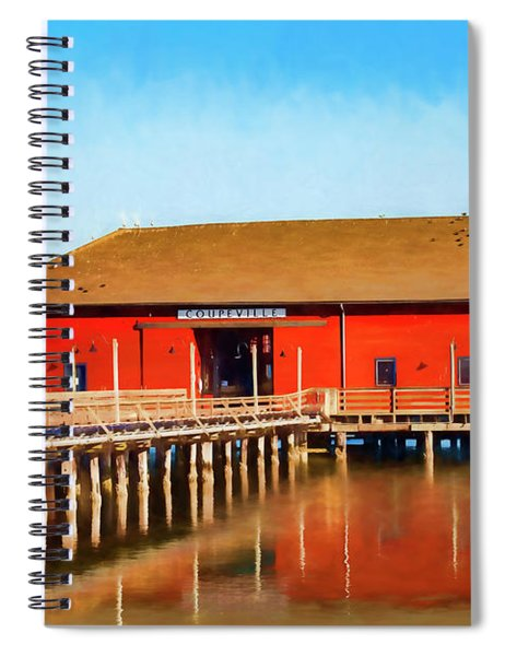 Bright Red Coupeville Wharf On Whidbey Island Spiral Notebook
