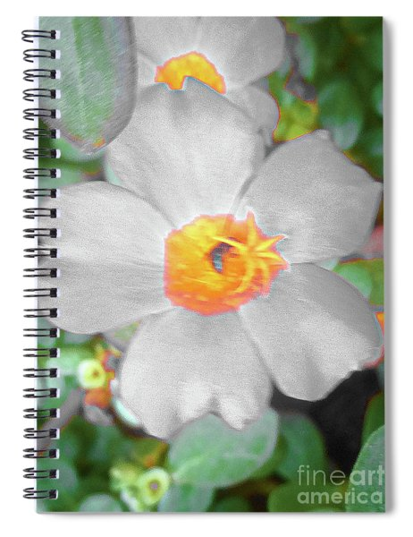 Bright White Vinca With Soft Green Spiral Notebook
