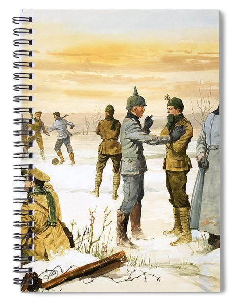 British And German Soldiers Hold A Christmas Truce During The Great War Spiral Notebook