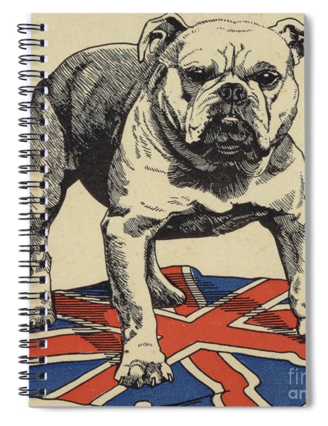 British Bulldog Standing On The Union Jack Flag Spiral Notebook