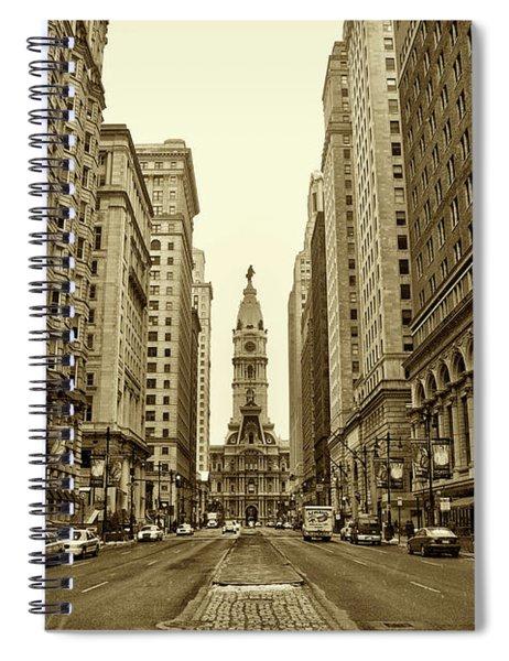 Broad Street Facing Philadelphia City Hall In Sepia Spiral Notebook