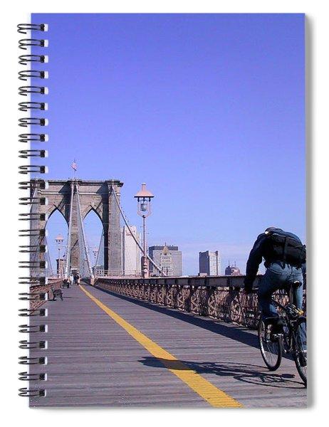 Brooklyn Bridge Bicyclist Spiral Notebook