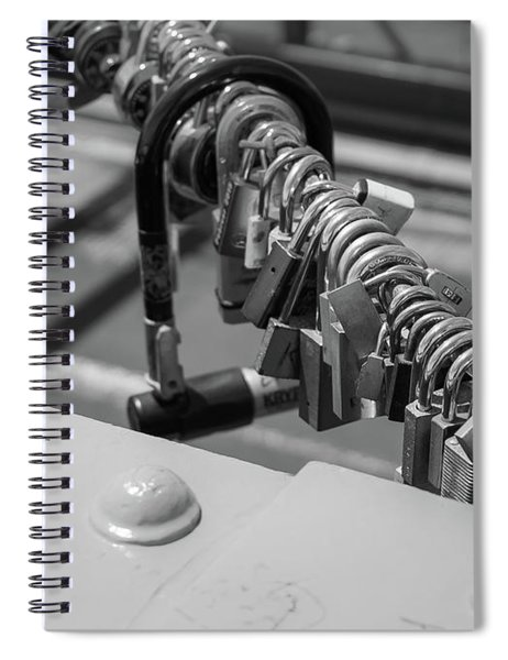 Brooklyn Bridge Love Locks In New York, New York Spiral Notebook by Robert Bellomy