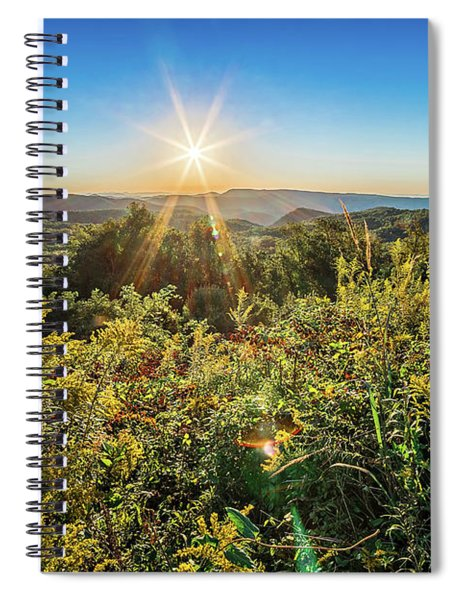 Brown Mountain Sunrise  Overlook Of Route 181 North Carolina Spiral Notebook by Alex Grichenko