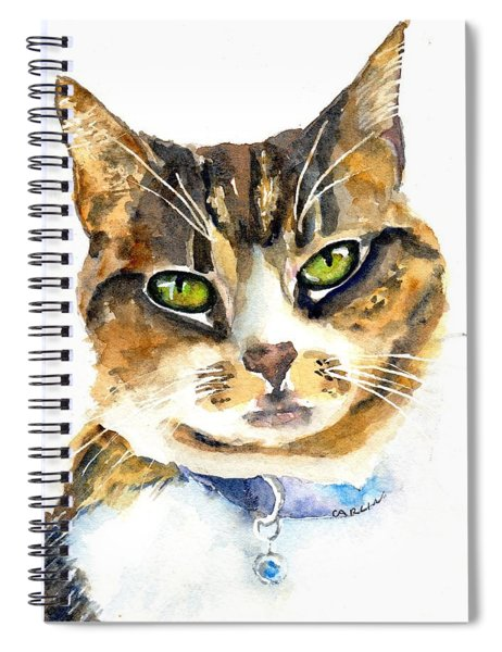 Brown Tabby Cat Watercolor Spiral Notebook