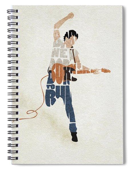 Bruce Springsteen Typography Art Spiral Notebook