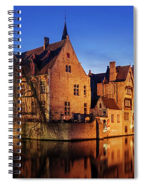 Spiral Notebook featuring the photograph Bruges Architecture At Blue Hour by Barry O Carroll
