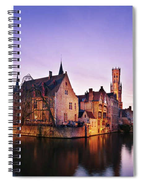 Bruges At Dusk Spiral Notebook by Barry O Carroll