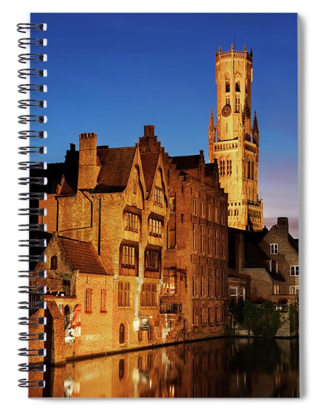 Spiral Notebook featuring the photograph Bruges Belfry At Night by Barry O Carroll