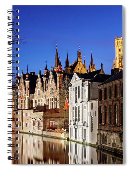 Spiral Notebook featuring the photograph Bruges Canal At Night by Barry O Carroll