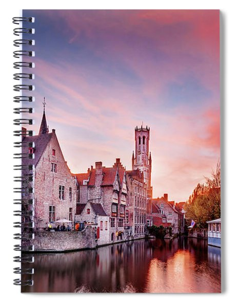 Bruges Sunset Spiral Notebook by Barry O Carroll