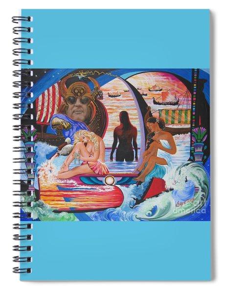 Blaa Kattproduksjoner     Two  Godessess Enjoying  The Nile Spa Spiral Notebook