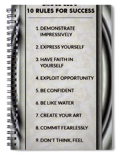 Buce Lee 10 Rules Of Success Spiral Notebook