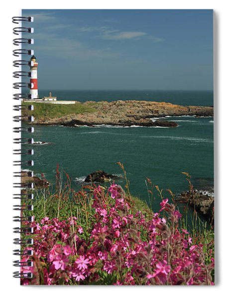 Buchan Ness Lighthouse And Spring Flowers Spiral Notebook