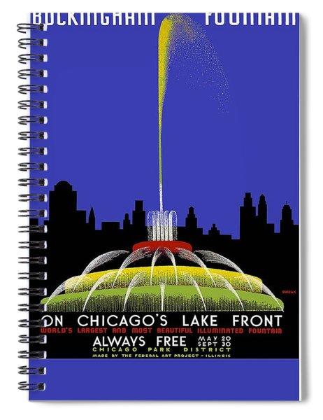 Buckingham Fountain Vintage Travel Poster Spiral Notebook
