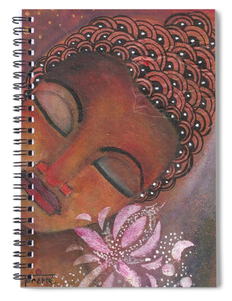Buddha With Pink Lotus Spiral Notebook by Prerna Poojara