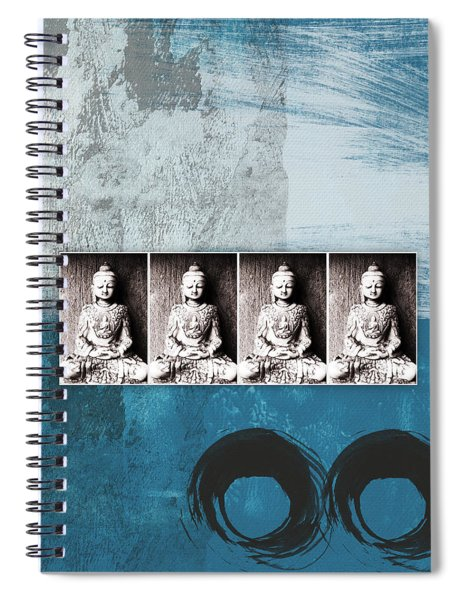 Buddhas In Blue- Contemporary Art By Linda Woods. Spiral Notebook