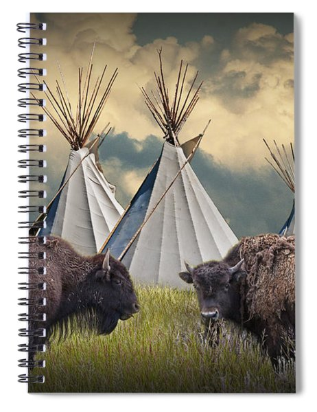 Buffalo Herd On The Reservation Spiral Notebook