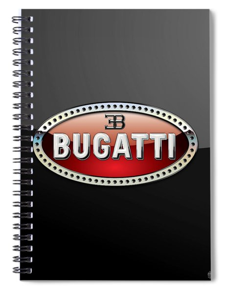 Bugatti - 3 D Badge On Black Spiral Notebook