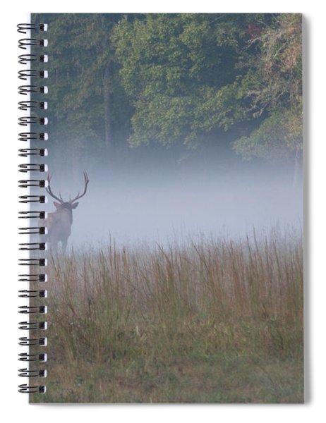 Bull Elk Disappearing In Fog - September 30 2016 Spiral Notebook