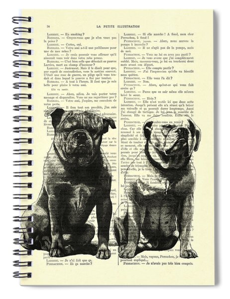 Bulldogs, Two Dogs Sitting Black And White Vintage Illustration Spiral Notebook