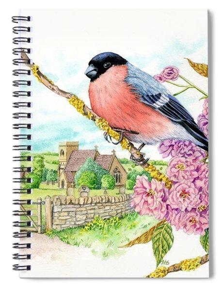 Bullfinch On Cherry Blossom Spiral Notebook