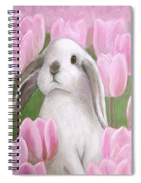 Bunny With Tulips Spiral Notebook