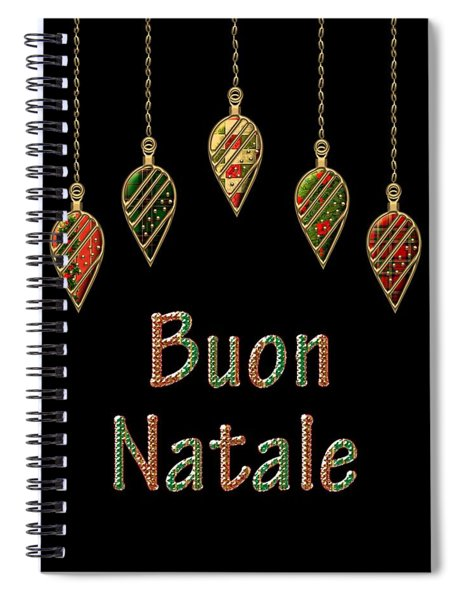Spiral Notebook featuring the digital art Buon Natale Italian Merry Christmas by Movie Poster Prints