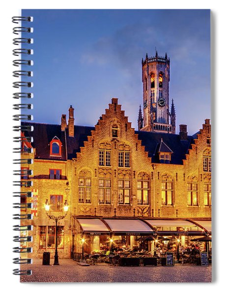 Spiral Notebook featuring the photograph Burg Square Architecture At Night - Bruges by Barry O Carroll