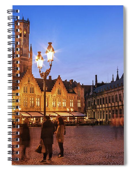 Spiral Notebook featuring the photograph Burg Square At Night - Bruges by Barry O Carroll