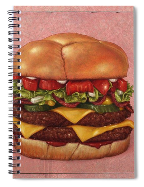 Spiral Notebook featuring the painting Burger by James W Johnson