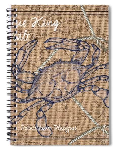 Burlap Blue Crab Spiral Notebook