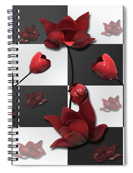 Burnt Crimson Flora Spiral Notebook