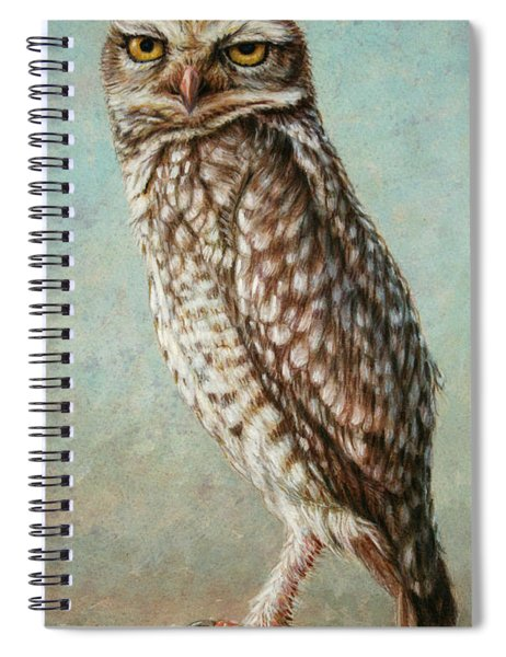 Spiral Notebook featuring the painting Burrowing Owl by James W Johnson