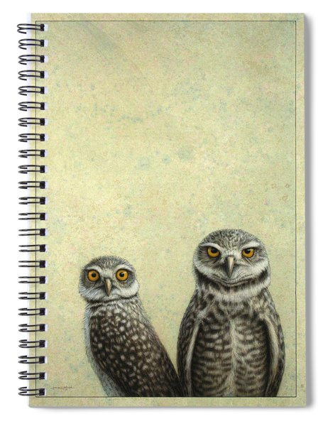 Spiral Notebook featuring the painting Burrowing Owls by James W Johnson