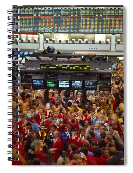 Business Executives On Trading Floor Spiral Notebook