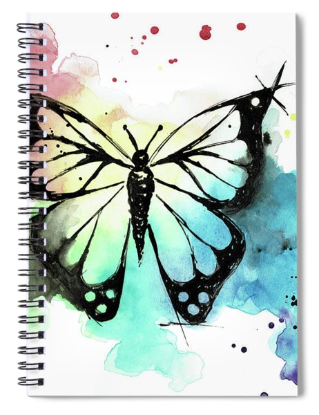 Butterfly In Watercolor And India Ink Spiral Notebook