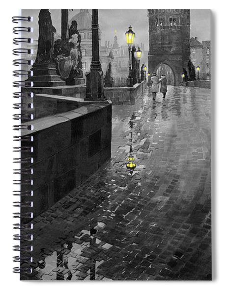 Bw Prague Charles Bridge 01 Spiral Notebook
