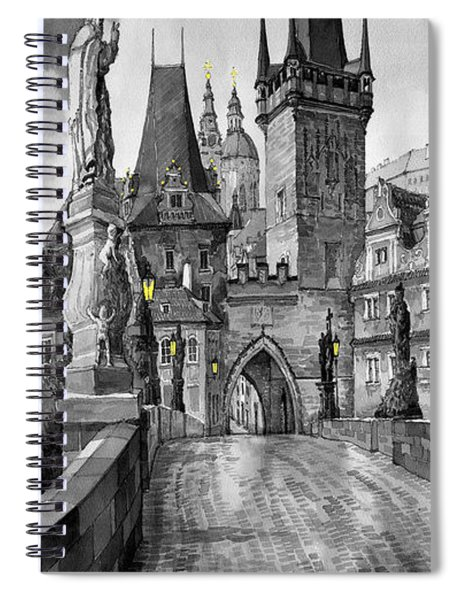 Bw Prague Charles Bridge 02 Spiral Notebook