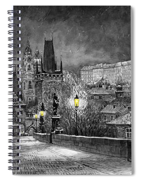 Bw Prague Charles Bridge 06 Spiral Notebook