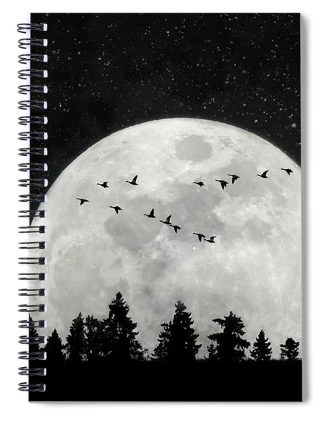 By The Light Of The Silvery Moon - Birds  Spiral Notebook