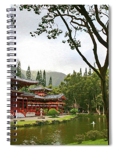 Byodo-in Temple Digital Painting Spiral Notebook