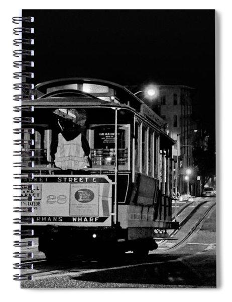 Cable Car At Night - San Francisco Spiral Notebook