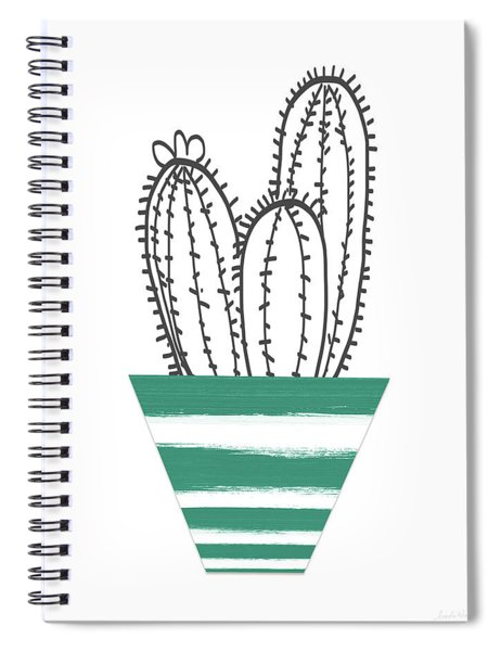 Cactus In A Green Pot- Art By Linda Woods Spiral Notebook