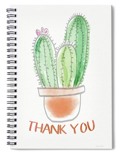 Cactus Thank You - Art By Linda Woods Spiral Notebook by Linda Woods