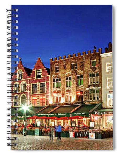 Spiral Notebook featuring the photograph Cafes And Restaurants On Markt Square - Bruges by Barry O Carroll